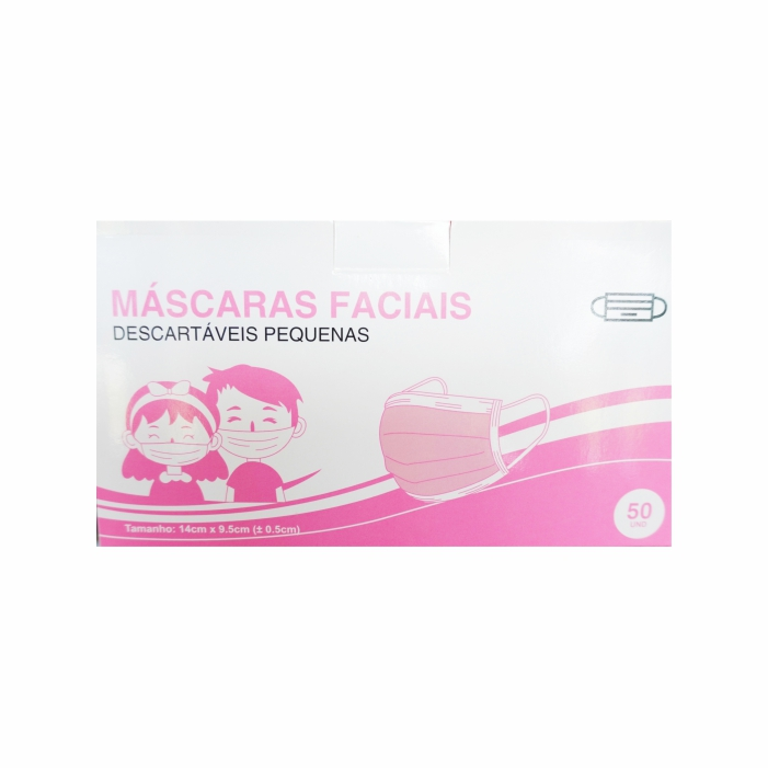 Máscara Cirúrgica Criança em PP  Rosa c/Elástico - 50 Unidades